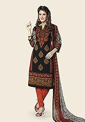 Globalepartner Women Synthetic Dress Material (Black Orange White) (GEP-DC-81)