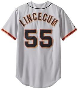 MLB Mens San Francisco Giants Away Gray Tim Lincecum Gray Baseball Jersey by Majestic