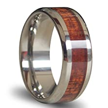 buy White Beveled Titanium Rings Inlaid Wood Wedding Bands 8Mm Matching Couple Tungsten Rings With Polished Edges And Comfort Fit Interior For Women/Men, Christmas Gift For Boyfriend/Girl Friend, Couple Matching Wide Rings With Grooves, Tail Ring Thumb Ring (