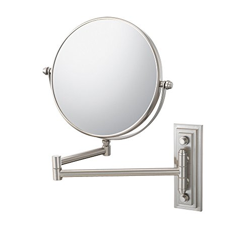 Mirror Image 20875 Classic Double Arm Wall Mirror, 1X And 5X Magnification, Brushed Nickel front-727887