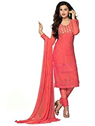 Rozdeal Pure Chiffon Red Color Dress Material
