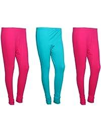 Indistar Women Cotton Legging Comfortable Stylish Churidar Full Length Women Leggings-Pink/Turquoise-Free Size-Pack...