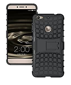Hello Zone Exclusive Shockproof Extreme Duty Dual Protective Back Cover with Flip Kick Stand for LeTV Le 1S -Black