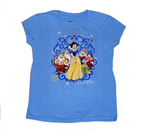 Snow White And The Seven Dwarfs Tee For Girls (Medium 7/8) - Blue