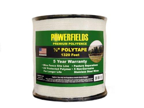 Powerfields Ew5-1320 1/2-Inch Polytape, 1320-Feet, White