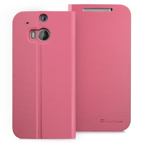 =>  GreatShield SHIFT LX Leather Wallet Flip Case with Stand for HTC One M8 (2014) - Retail Packaging (Pink)
