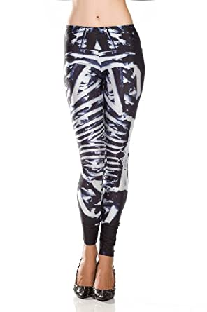 Amour - Women Rock X-ray Skeleton Bone Skull Leggings Tights Black (Regular Size, Bone Machine Leggings)