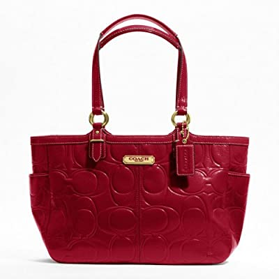 Coach 19462 Gallery Patent Leather Embossed Tote Crimson Red Hand Bag