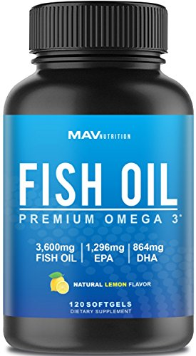Fish Oil Designed to Support Brain, Joints, Skin, Heart, and Immune System; Max Potency to Aid in Weight Loss; 3,600 mg + 1,296 mg EPA + 864 mg DHA; Burpless with a Natural Lemon Flavor; NON-GMO