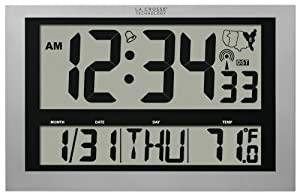La Crosse Technology La Crosse Technology 513-1211 Atomic Wall Clock with Jumbo LCD Display with Indoor Temperature
