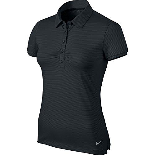 Nike Womens Dri-Fit Mini Stripe Golf Polo Shirt Black 828257-010 (Large)