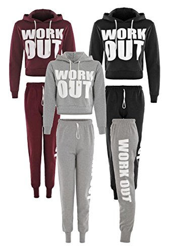 Cima Mode's Ladies Work Out Cropped Hoody Top and Joggers Pants Set size 4-12