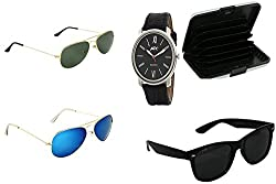ATC Combo Three Sunglasses & Card Wallet & Black Analogue Wrist Watch for Men - CSSSB-02