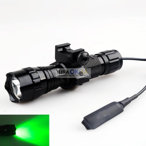 Cisno Cree Green Light Led Tactical Flashlight Torch With Mount+ Pressure Switch