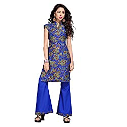 Shopeezo Blue Colored Poly Cotton Printed Dress Material Without Dupatta