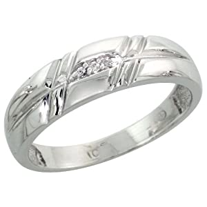 14k White Gold Ladies' Diamond Band, w/ 0.02 Carat Brilliant Cut Diamonds, 7/32 in. (5.5mm) wide, Size 7.5