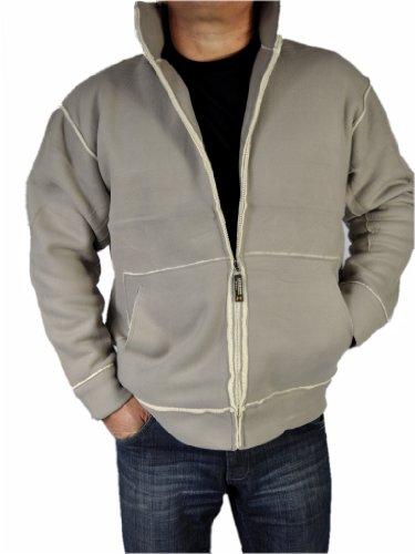 Unbekannt Herren Outdoor Jacke Sport Fleecejacke mit Teddyfell 6 Farben, Grau, XL