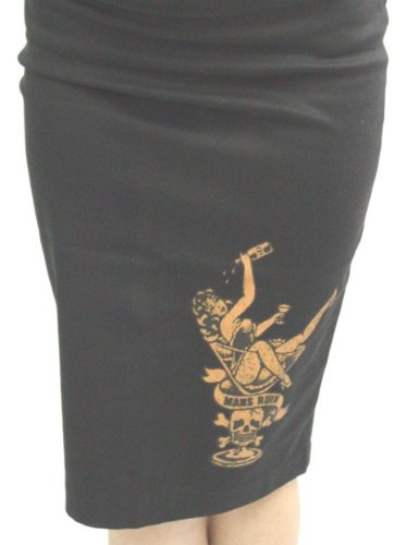 Lucky 13 Martini Time Skirt Mans Ruin Pin Up Girl Pencil Skirt Small - XXL