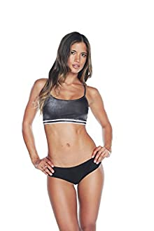 WITH Women's Back Mesh Bra Work Out Candy B&W Medium