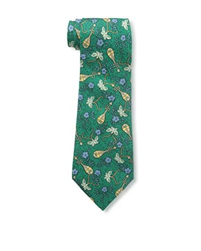 Hermès Men's Pre-Owned Patterned Silk Tie, Green