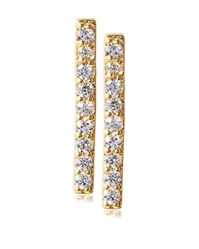 Jardin Gold Plated Pave Cz Bar Post Earrings