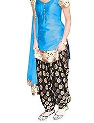 Sancom Sky Blue Semi Stitched Cotton Patiyala