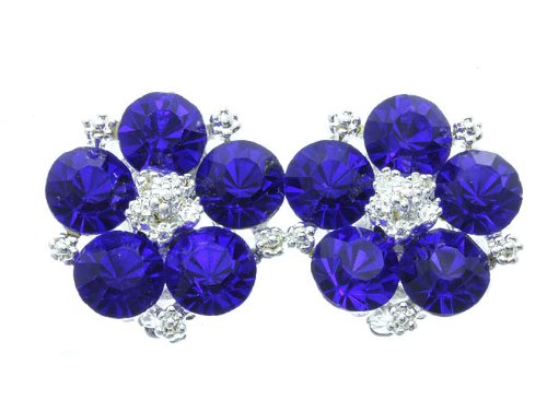 EARRING CLIP ON CRYSTAL STONE SAPPHIRE TONE Fashion Jewelry Costume Jewelry fashion accessory Beautiful Charms