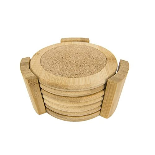 Home Basics 6 Piece Bamboo Coaster Set