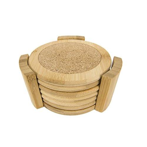 Home Basics 6 Piece Bamboo Coaster Set