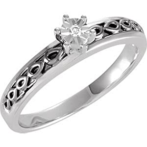 IceCarats Designer Jewelry Sterling Silver Wedding Band Ring. Size 9 .015 Ctw Engagement Ring