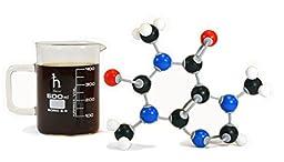 Molecular Mugs: 500 mL coffee beaker mug with 3D caffeine molecule model