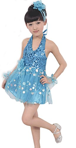 AvaCostume Girls Dance Dress Gauze Sequins Performance Costume