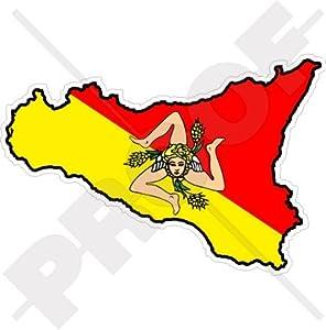 "Amazon.com: SICILY Sicilian Map-Flag ITALY 4.3"" (110mm) Vinyl Bumper"