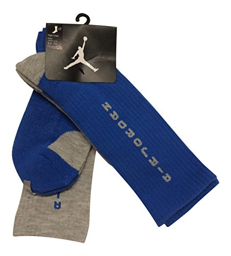 Nike 2 Pairs/Pack Kids High Crew Socks, Blue/Grey, 5Y-7Y - 1