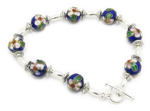 AM5964 Unique blue cloisonne Bead and silver plated metal bracelet by Dragonheart – 20cm