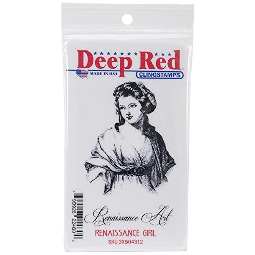Deep Red Stamps Renaissance Girl Rubber Stamp