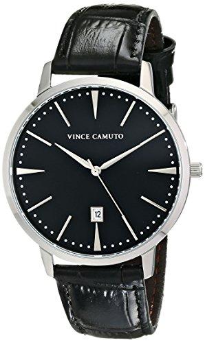 Vince la socio Camuto Unisex reloj infantil de cuarzo con esfera analógica y negro correa de piel VC/1073bksv