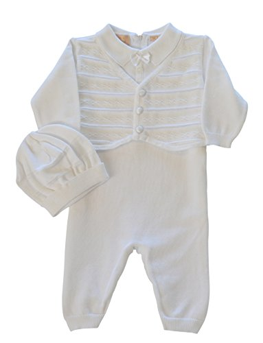 Baby Boys' Christening Outfit with attached Vest and Hat, 6M