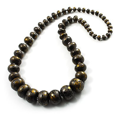 Long Graduated Wooden Bead Colour Fusion Necklace (Black& Golden)