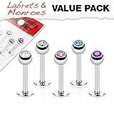 "5 Pcs Value Pack Ferido Crystal Top Labret Monroe Lip Rings 16G 5/16"" Length"