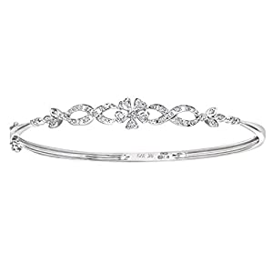 Naava 9ct White Gold Diamond Flower Bangle of 5x6cm