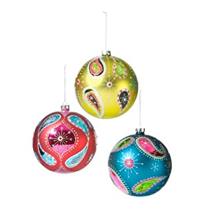 #!Cheap Department 56 Whimzily Christmas Collection Glass Jumbo Paisly Ball Shaped Ornaments, Set of 3