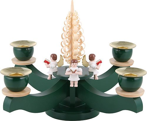World of Light Candle holder advent four sitting angels with wood chip tree - 22x19cm / 8.7x7.5inch - Albin Preissler