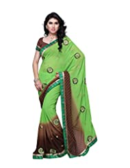 Aaliyah Women's Georgette Saree With Blouse Piece(Green)
