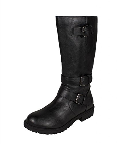 Soda Kid'S Girly Tulip-2 Equestrian Mid-Calf Riding Boots With Side Zipper, Black Leatherette, 11 Lk