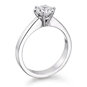 Solitaire Diamond Ring 3/4 ct, J Color, SI1 Clarity, Certified, Round Cut, in 18K Gold / White