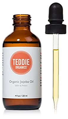 Teddie Organics Golden Jojoba Oil 100% Pure Organic Cold Pressed and Unrefined - Natural Oil Moisturizer for Face Hair and Healthy Skin