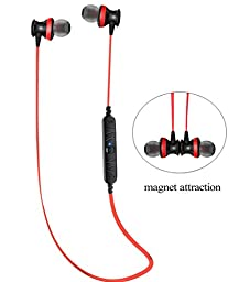 Bluetooth Headphones, Sweatproof V4.0 Wireless Bluetooth Earphones Headset In-Ear Headphones Earbuds with Microphone & Stereo for Sports with Magnet Attraction (Red)