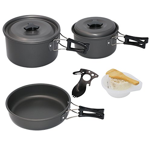 Startostar 13pcs Camping Cookware for 3-4 People with 2 Pot and 1 Pan Lightweight, Compact, Durable Cooking Equipment Bonus Spork and Mesh Bag (Camping Cookware 2 Person compare prices)