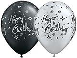 5 Latexballon Luftballon Happy Birthday elegant silber / schwarz metallic sortiert 28 / 30 cm (Ballongas geeignet)